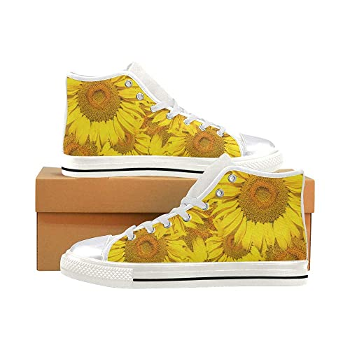 5644419ff053 Image Unavailable. Image not available for. Color  INTERESTPRINT Womens  Canvas Shoes High Top Lace Up Yellow Sunflower Casual Sneakers