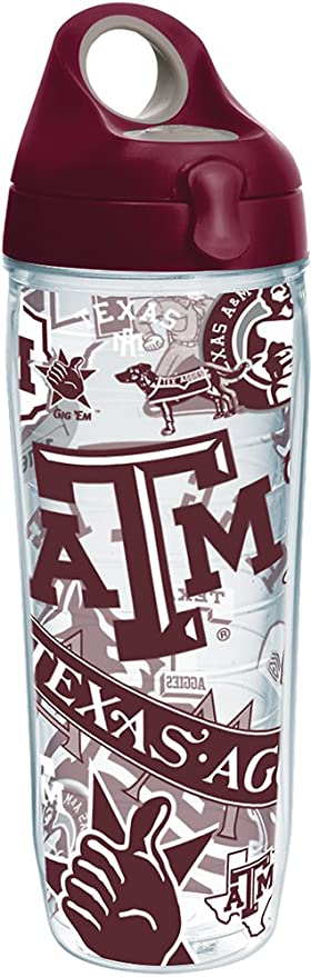 24 oz Tervis 1251642 NCAA Texas a/&M Aggies All Over Water Bottle with Lid Clear