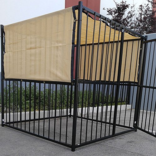 4-X-10-Tan-Beige-UV-Rated-Dog-Kennel-Shade-Cover-Sunblock-Shade-Panel-Shade-Tarp-Panel-WGrommets-Not-the-kennel