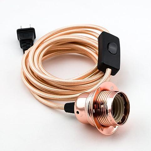 Fantado Rustic Rose Gold Pendant Light Lamp Cord W/ Polished Finish, 11FT  Braided Cloth