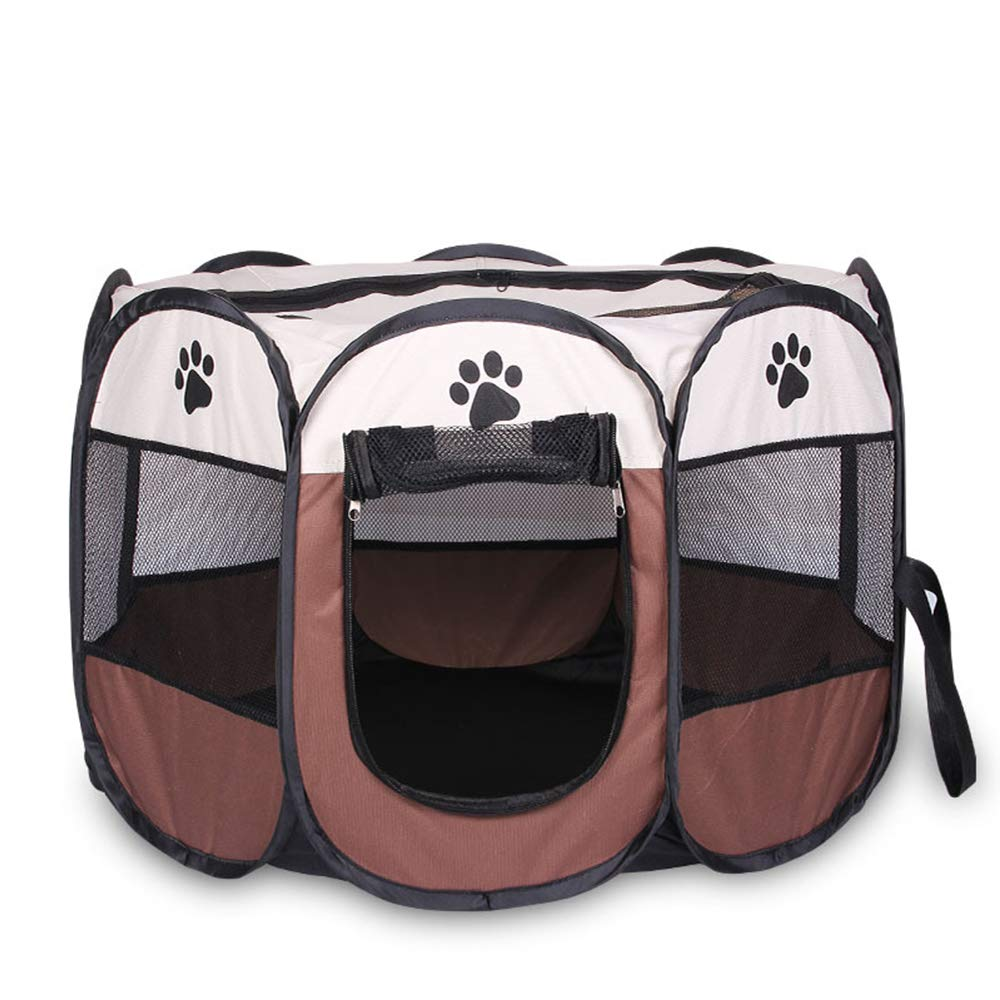 Brown Medium Brown Medium Portable Foldable Playpen,Easily Sets Up & Folds Down & Space Free,Multiple Sizes and colors Available for Dogs, Cats and Other Pets,Brown,M