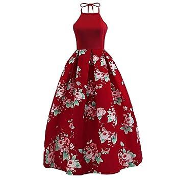 4accf5965 Vestidos de Fiesta Para Bodas LILICAT® Vestido Largo Estampado Floral sin  Mangas de Verano Sexy