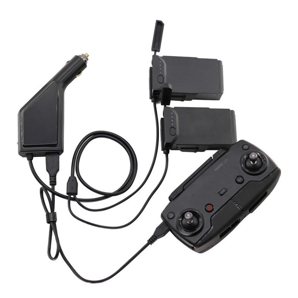 [ DJI Mavic Airアクセサリー] USB車充電器アダプタリモートコントロール&バッテリー充電ハブ Da-003040 B07BFPLD3C  3 in 1