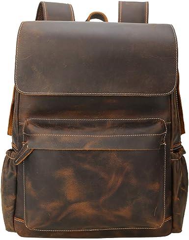 """Vintage Men/'s Leather 14/"""" Laptop Backpack Shoulder Bag Travel School Bag Handbag"""