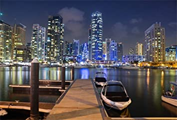 Amazon Com Csfoto 8x6ft Background For Dubai Marina Under Moon