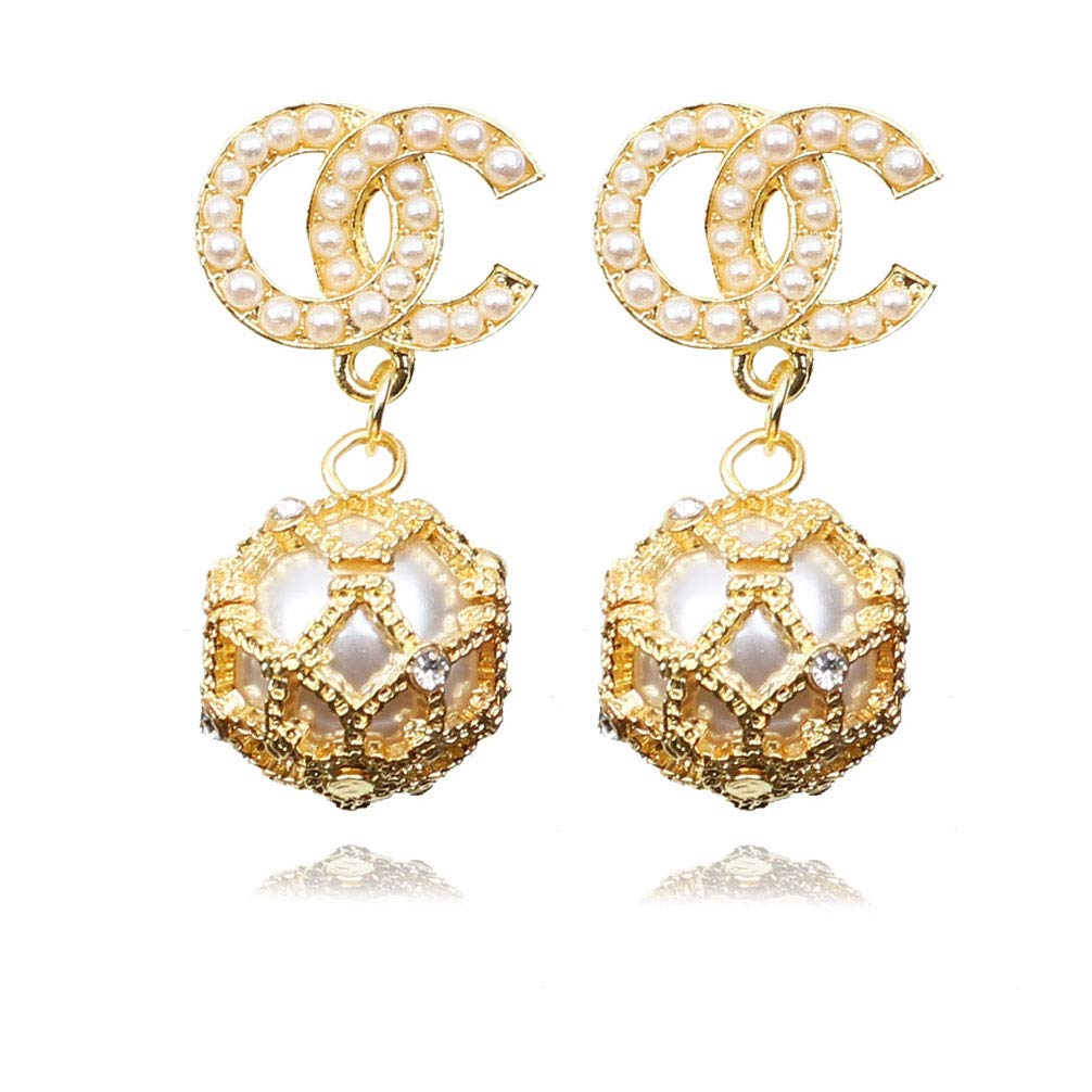 Womens Fashion Stud Earrings Luxury Letter G and C Metal Alloy Pearl Dangle Drop Earrings for Girls Gold /& Silver