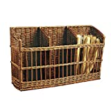 Rectangular Natural Willow 3 Compartment Tapered Basket - 45 1/4''L x 12''W x 20 1/2'' to 26''H