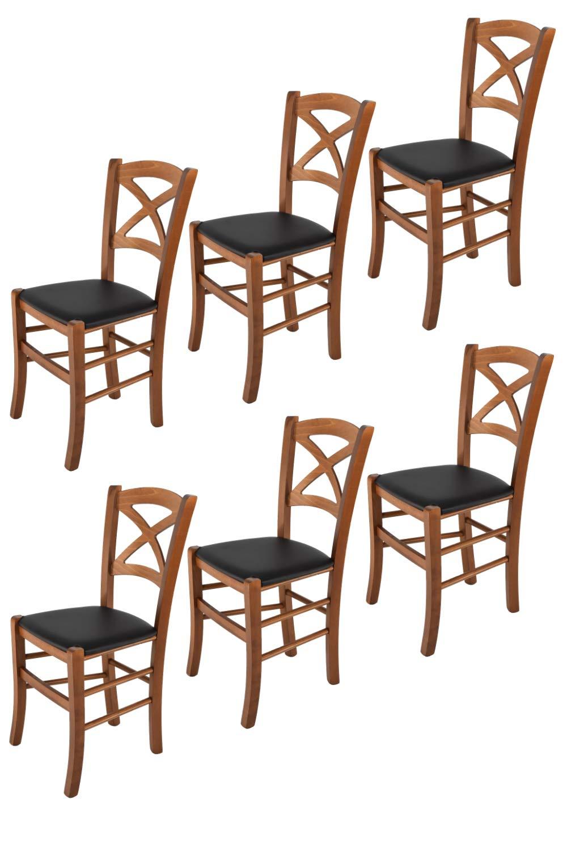 Bar et la Salle /à Manger Set de 2 chaises Cross pour la Cuisine avec Structure en Bois Coleur Noix et Une Assise en Cuir Artificiel Coleur Noir Tommychairs Chaise du Design