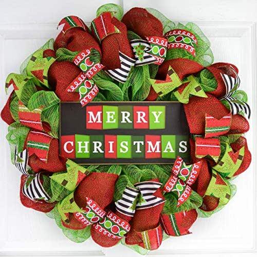 Amazon.com: Clearance Merry Christmas Mesh Wreath ...