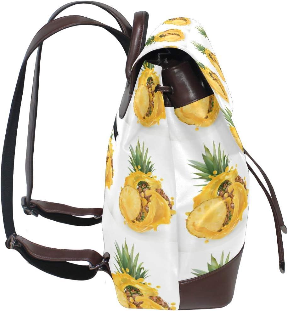 Leather Pineapple Juice Fresh Fruit Icon Backpack Daypack Bag Women