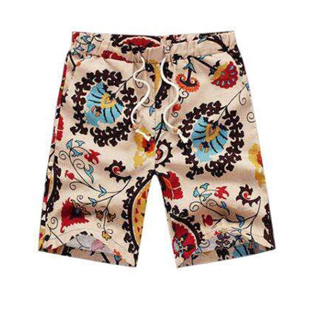 F/_Gotal Mens Outfits Beach Shorts African Floral Print Two Piece Cotton Linen Outfits Sets Outfits Set for Men
