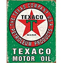 Texaco Oil Weathered Metal Tin Sign