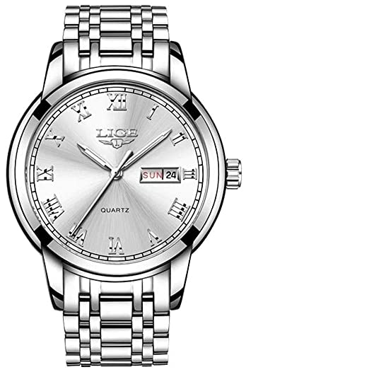 LIGE 9846 - Reloj analógico de Cuarzo con Correa de Acero Inoxidable para Hombre: Amazon.es: Relojes