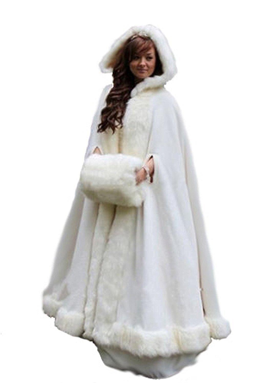 kelaixiang Long Women's Faux Fur Cloak Cape with Hand Muff For Winter Wedding