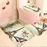 Toilet Cover Toilet Mat Tezoo Eiffel Tower Flannel Pedestal Rug, Bath Rugs and Toilet Cover, 29.52'' x 17.71''/17.32''x 15.74''/17.71'' x 14.96'' Light yellow 29.52