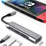 RREAKA USB Type C to HDMI Digital AV Multiport Hub,USB-C (USB3.1) Adapter PD Charger for Nintendo Switch,Portable 4K HDMI Doc