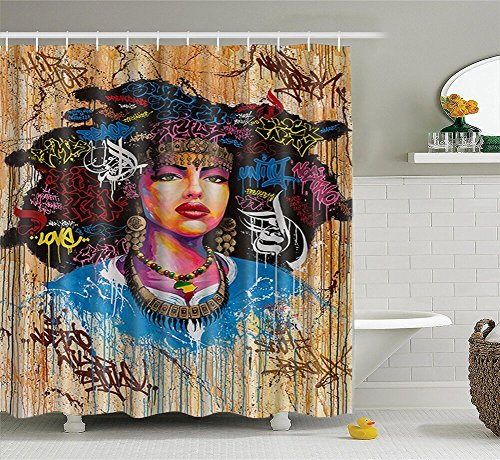 African American Shower Cutain Woman Abstract Print Waterproof Mildew Resistant Fabric Polyester Bath Curtain for Hip Pop Art Bathroom - Pop Art Hip