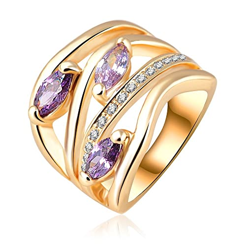 18k Gold Plated Vine Leaves Purple Zirconia Crystal Az0224Ar Ring Available in Sizes 5.5 7 8 9 10 11.5