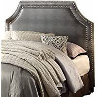 Homelegance 1831P-1 Alligator Bi-Cast Vinyl Headboard with Nailheads, Queen/Full, Grey