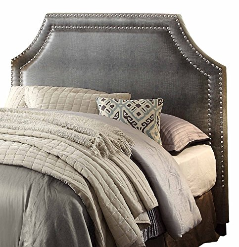 Homelegance Alligator PU Leather Headboard with Nailheads, King/Cal King, Gray