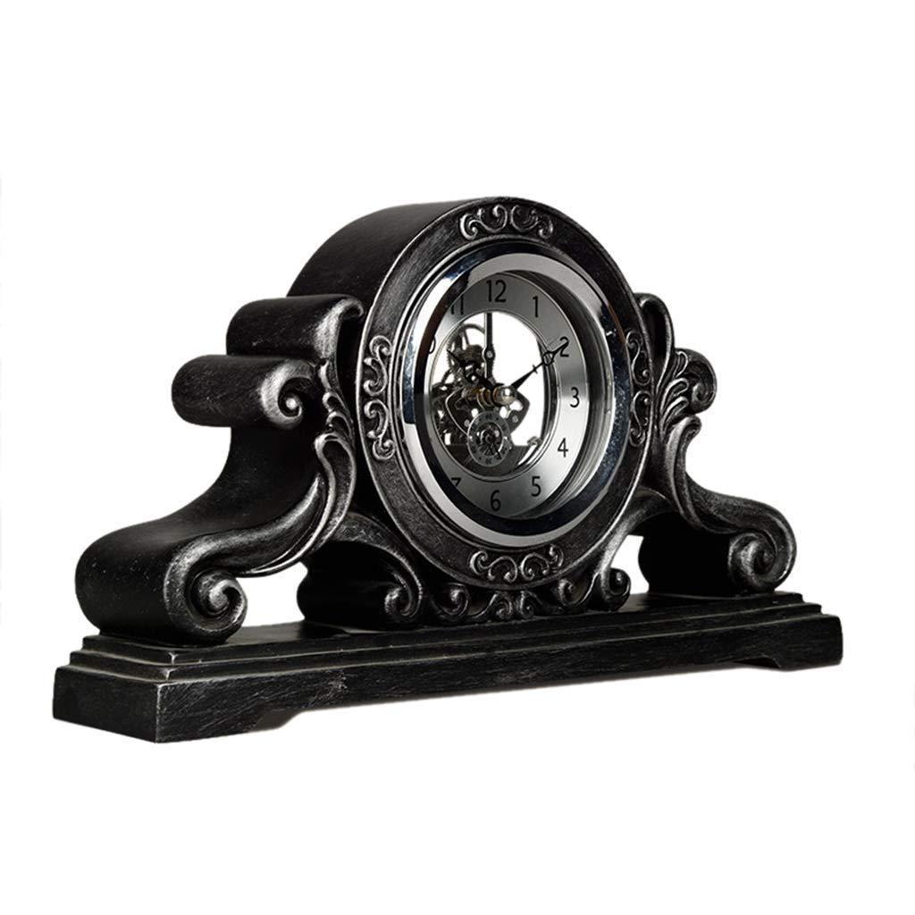 デスククロックファミリークロックローマの古典的なマントラ置時計刻む樹脂製の机の装飾的な時計付きリビングルーム用リビングルームの寝室用オフィス B07TFCT5G2