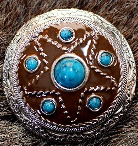 Concho 4 Conchos Rhinestone Horse Saddle Western Bridle Turquoise (Western Saddle Conchos)