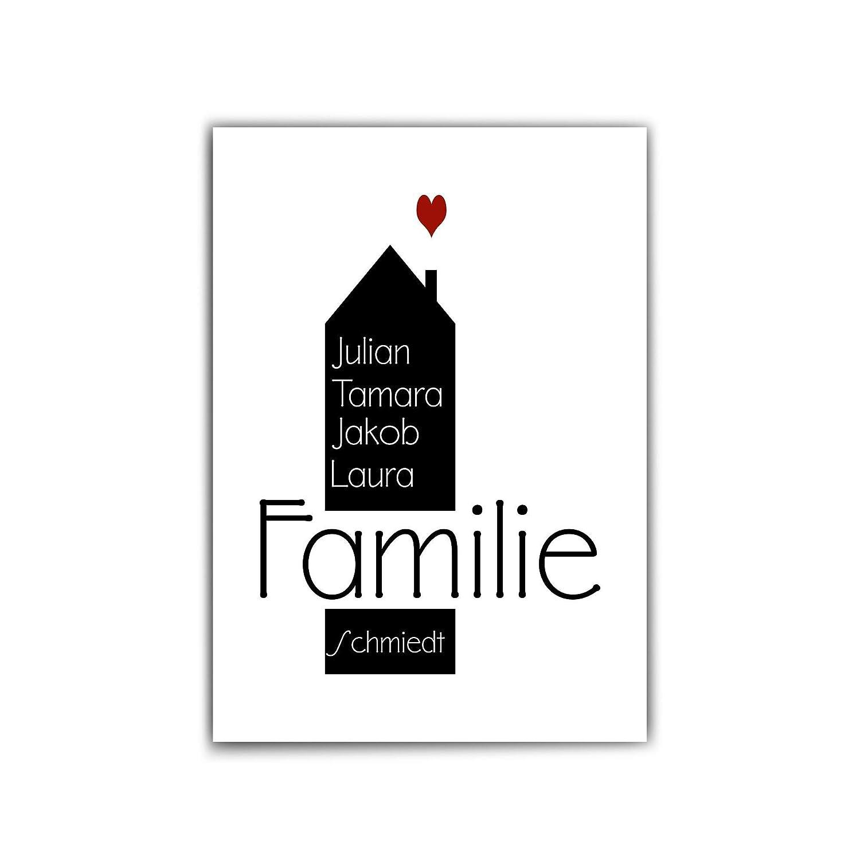 ohne Rahmen Personalisiertes Familienbild sch/önes pers/önliches Geschenk f/ür euer Zuhause Poster Familien Namen personalisiert Herz Typografie