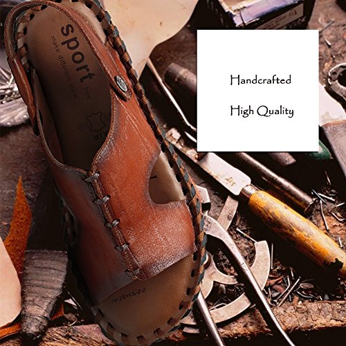Sandal Brown Open cuero Beach 41 diseñado antideslizante genuino Summer sandalia pescador suave Shoes Vintage Tamaño Toe Yellow Color zapatos ZJM Caqui Man Slipper 0wPIFnxPqB
