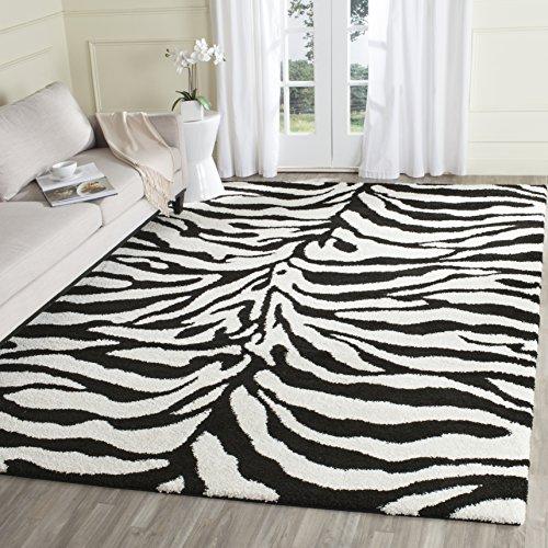 Safavieh Zebra Shag Collection SG452-1290 Ivory and Black Area Rug (8'6