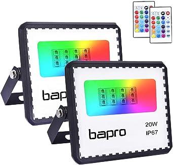 2X20W RGB Foco LED con Control Remoto, Foco Proyector Exteriores ...