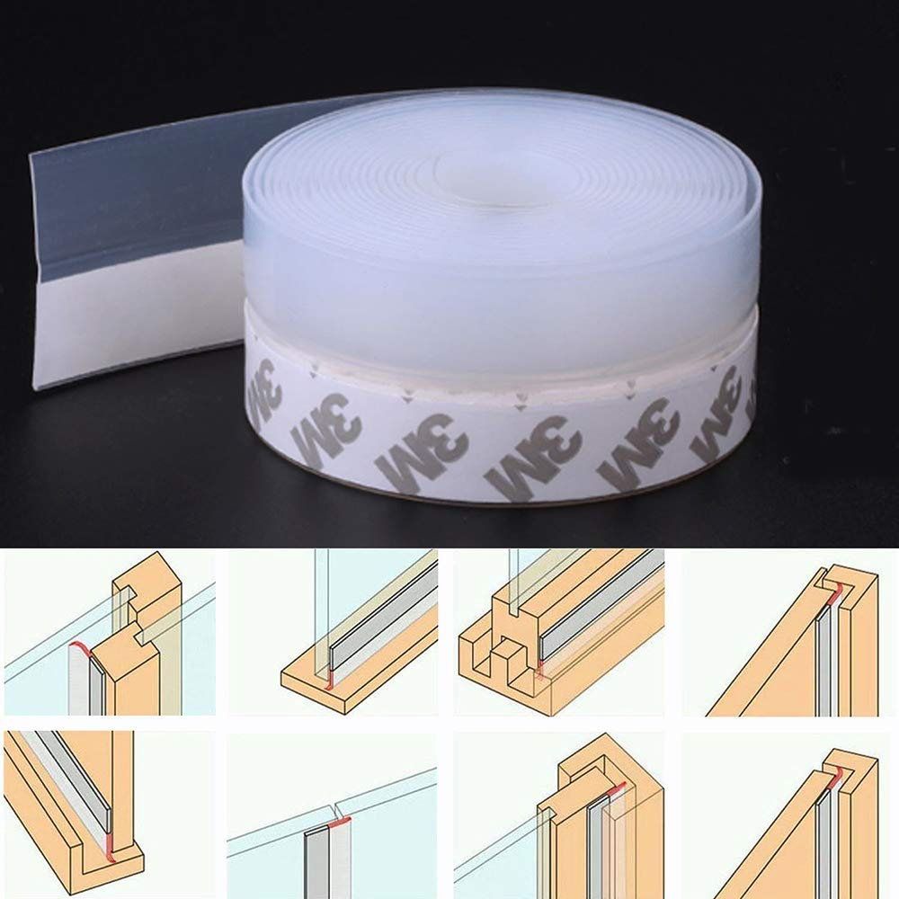 Door Seal Strip Weather Stripping Window Silicone Seal Strip House and Glass Shower Door Seal Strip for Side of Door 2 Pack Transparent