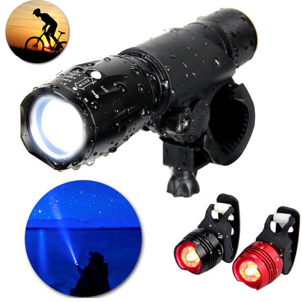 FidgetFidget LED Flashlight Bike Battery Lamp Torch 360° Mount Clip + 2xRear Safety light