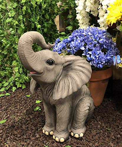 (Ebros Ruby The Elephant Sitting Pretty with Trunk Up Large Statue 17
