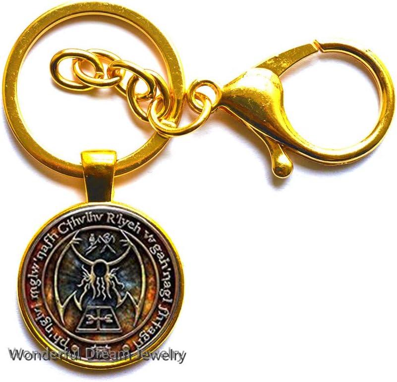 New Cthulhu R'lyeh Sigil Key Ring Inspired by H.P. Lovecraft Key Ring Keychain Glass Photo cabochon Keychain,PU341