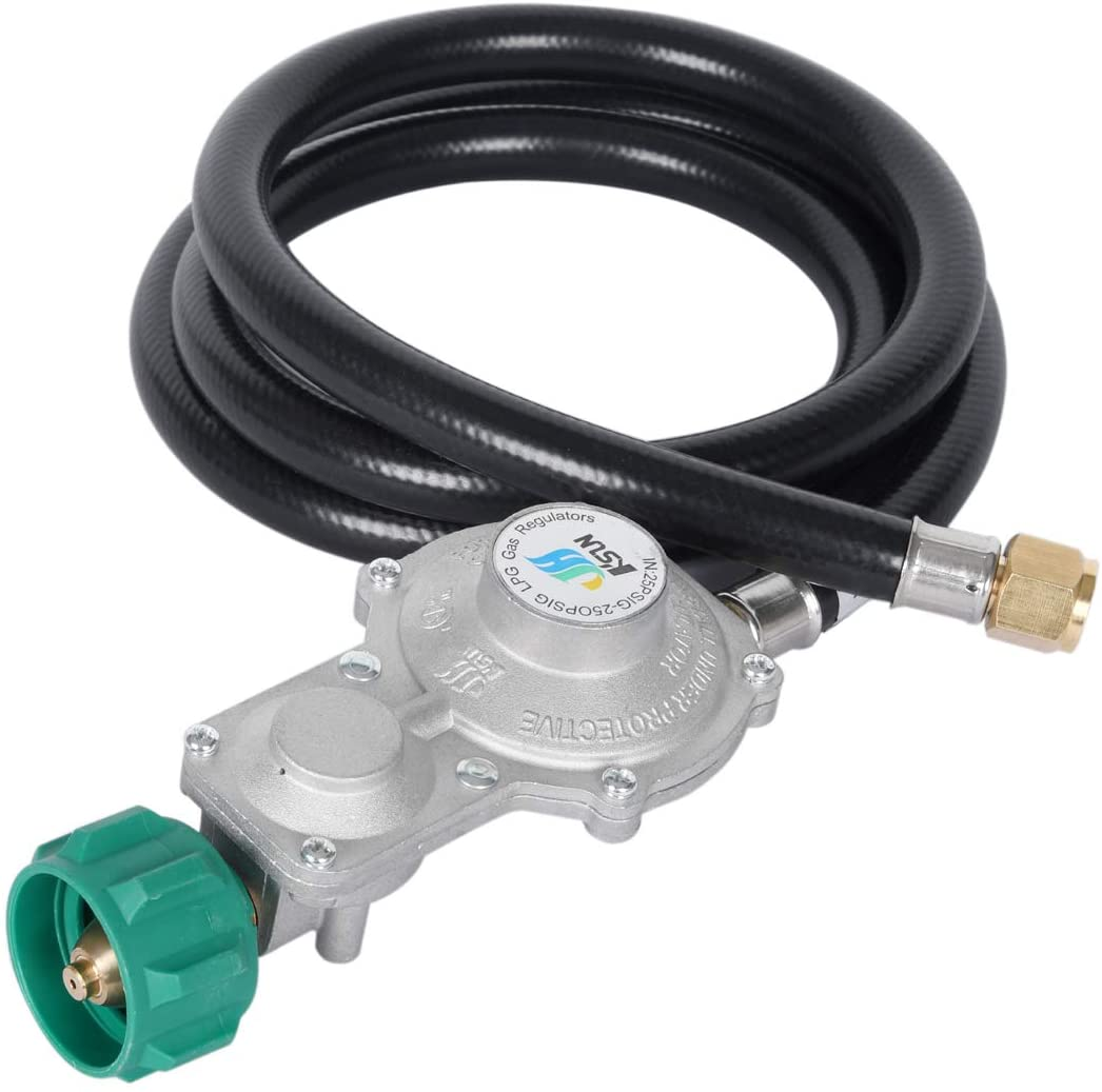 """JEASOM 5FT Two Stage Propane Regulator,RV Pigtail Propane Hose with QCC1/Type1 Connector and 3/8""""in Female,Gas Grills RV Appliance Generator and More"""
