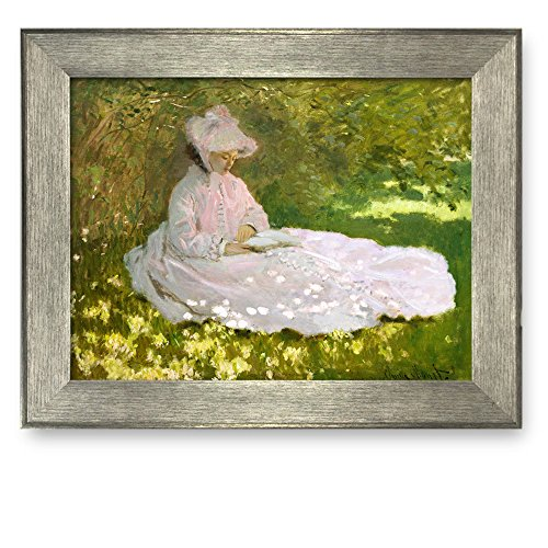 Framed Art Springtime by Claude Monet Famous Painting Wall Decor Silver Frame