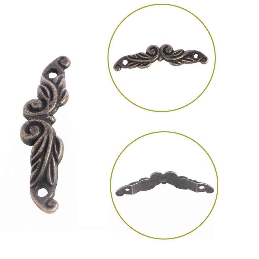LANDUM 10 Pcs 45mm x 11mm Bronze Cabinet Drawer Handle Pull Jewellery Box Knob