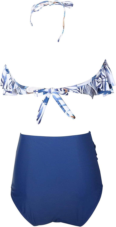 Goldwid Women Swimwear High Waisted Halter Flounce Bikini Set Ruffled Beach Bathing Suits