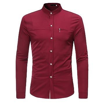 Hombre camisa manga larga Otoño,Sonnena ❤ Camisas para hombres delgadas con cremallera Camiseta de manga larga casual de verano Blusa casual: Amazon.es: ...