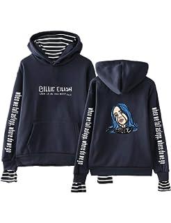 Formesy Mujer Billie Eilish Sudaderas con Capucha Hip-Hop Singer Fans Hoodie Unisex Sudadera Street Sweatshirt Pullover