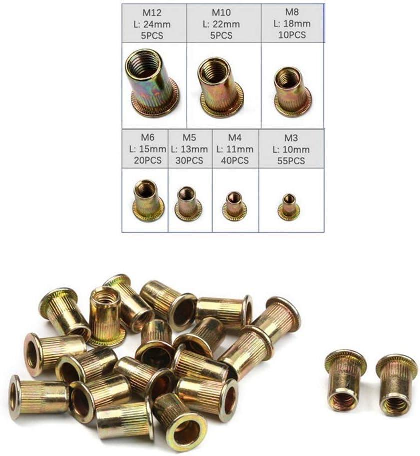 MTMTOOL 165 Pcs Rivet Nuts Assortment Kit M3 M4 M5 M6 M8 M10 M12 Flat Head Threaded Insert Rivet Nut