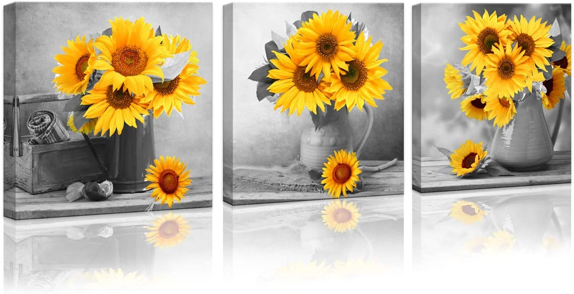 Sunflower Bathroom Kitchen Wall Decor Canvas Wall Art for Living Room for Bedroom Artwork Canvas Prints Sunflower Flowers Painting 3 Pieces Modern Framed Office Home Decorations Family Picture