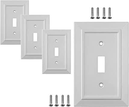 Pack Of 4 Wall Plate Outlet Switch Covers By Sleeklighting Classic Architecture Wall Plates Variety Of Styles Decorator Duplex Toggle Blank Combo Size 1 Gang Toggle