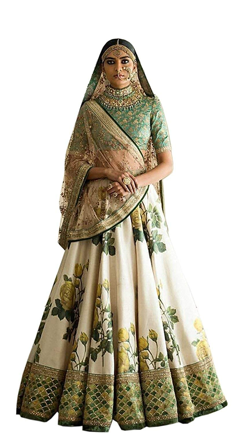 79db9caf47b0 FABPIXEL Women's Silk Embroidered Rose Floral Printed Lehenga Choli  (7002-7003,Yellow,Free Size): Amazon.in: Clothing & Accessories