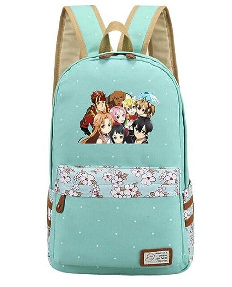 yoyoshome Anime Sword Art Online Cosplay mochila mochila mochila bolso de escuela verde 3