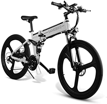 Ultrey - Bicicleta BBT eléctrica plegable de 26 pulgadas, bicicleta de montaña con batería de 350 W, 48 V, 10,4 Ah, 480 Wh, amortiguación altamente resistente y 21 marchas Shimano, color blanco: Amazon.es: Deportes y aire libre