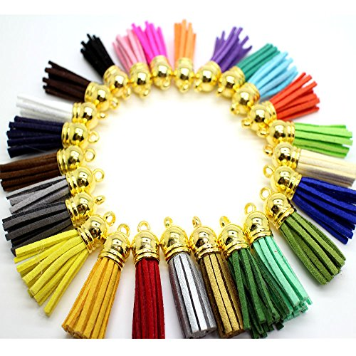 45pcs of Multi-Colors Leather Tassel with Gold Caps Cell Phone Straps/DIY Charms Cap Bracelet Charm