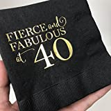 Fierce and Fabulous at 40 Napkins, Cocktail Napkins, Beverage Napkins, 40th Birthday Party Napkins, Gold Foil, Black and Gold Napkins, Set of 25, 40th Birthday for Her Decor