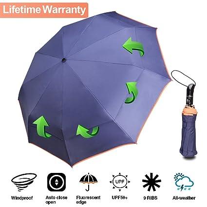 c11ad9eebf97f Windproof Umbrellas, Vented Travel Umbrella Compact Unbreakable Travel  Outdoor Folding Umbrella Auto Open Close Double