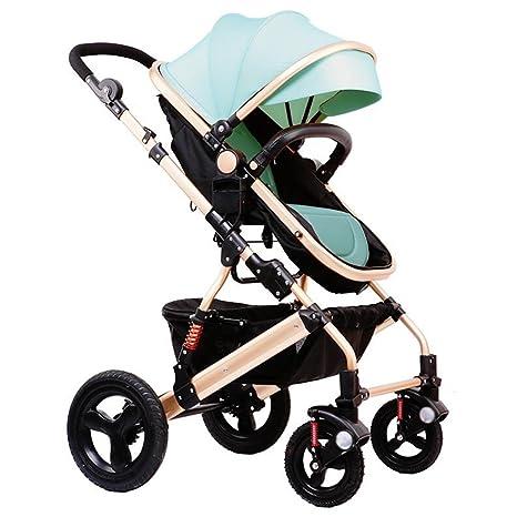 Cochecito de bebé Paisaje alto puede sentarse Horizontal plegable plegable bidireccional Carro de amortiguador de cuatro